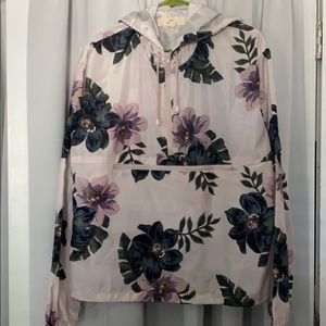 Floral print windbreaker/rain jacket